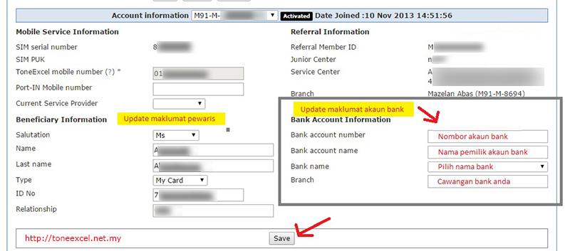 Update maklumat akaun bank dan pewaris